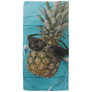 Sunbathing Pineapple Beach Towel - 37x74 Towels CustomCat One Size