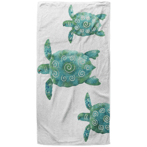 Seaturtle Trio Beach Towel - 37x74 Towels CustomCat White One Size