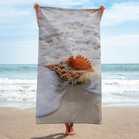 Shell in Waves Beach Towel - 37x74 Towels CustomCat White One Size