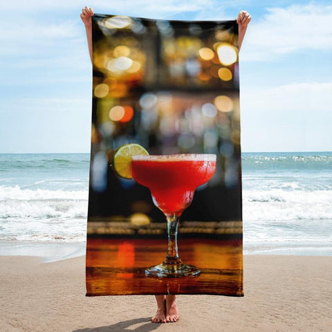 Strawberry Daiquiri Beach Towel - 37x74 Towels CustomCat White One Size