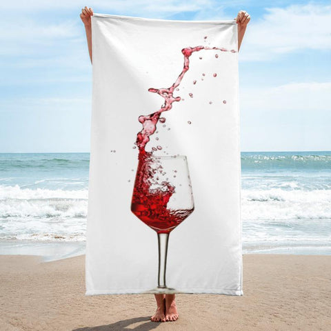 Wine Beach Towel - 37x74 Towels CustomCat White One Size