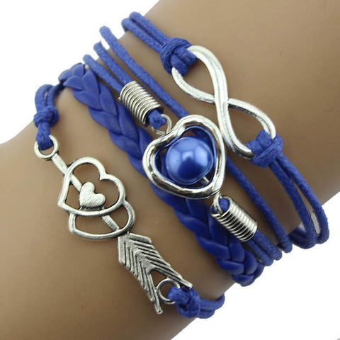 1PC Infinity Love Heart Pearl Friendship Leather Charm Bracelet Bracelet Harner Isle Blue