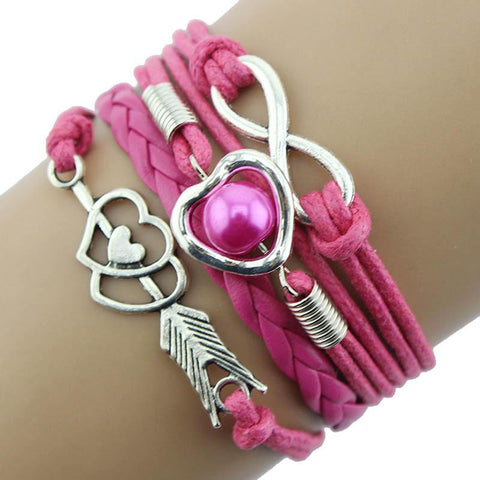 1PC Infinity Love Heart Pearl Friendship Leather Charm Bracelet Bracelet Harner Isle Pink