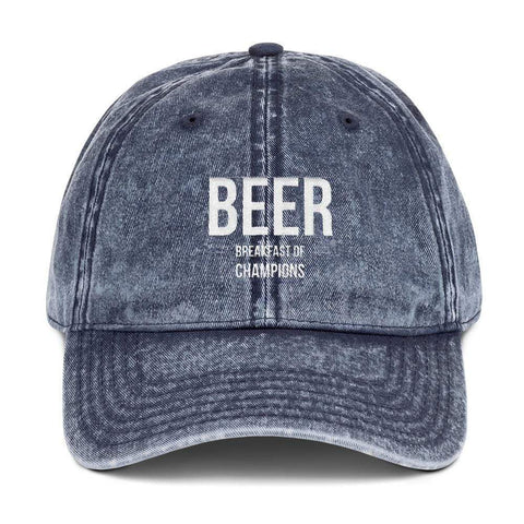 Image of Beer Breakfast of Champions Otto Cap 18-1248 Vintage Cap Harner Isle Navy