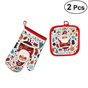 2pcs Christmas Oven Glove and Hot Pad set Oven Mitt Harner Isle Default Title