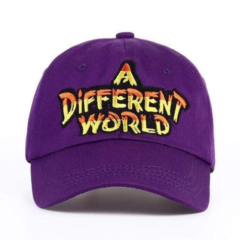 A DIFFERENT WORLD Embroidered Sports Cap Harner Isle Purple
