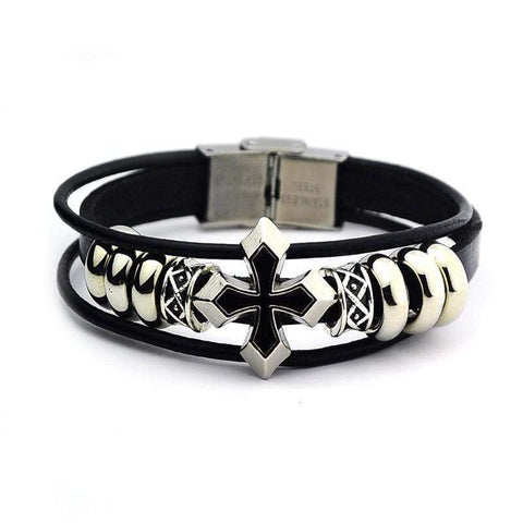 1PC Braided Leather Bracelet Rivet Bracelet Compiled Jewelry Wristband ring Harner Isle Default Title