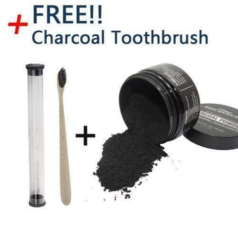 Activated Charcoal Teeth Whitening Organic Coconut Shell Powder with Bamboo Toothbrush whitening Harner Isle Default Title