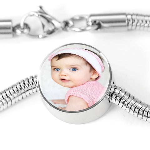 Steel Bracelet with Charm, Add Your Own Photo Circle Charm ShineOn Fulfillment M/L Bracelet & Charm No