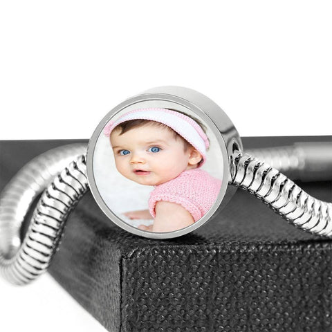 Steel Bracelet with Charm, Add Your Own Photo Circle Charm ShineOn Fulfillment