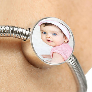 Steel Bracelet with Charm,  Add Your Own Photo