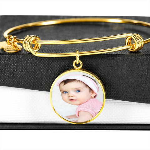 Add Your Own Photo Charm Bracelet Jewelry ShineOn Fulfillment Circle Pendant Gold Bangle No