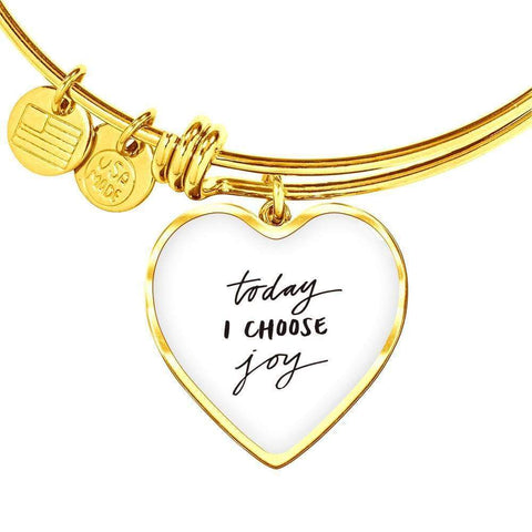 Image of Today I Choose Joy Jewelry ShineOn Fulfillment Heart Pendant Gold Bangle No