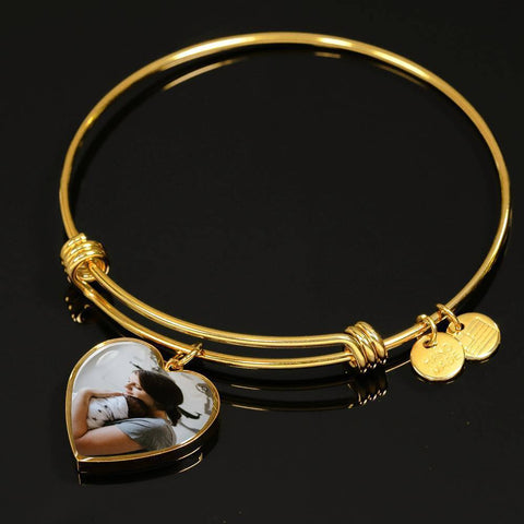 Bangle Heart Charm Bracelet Add your own Photo Jewelry ShineOn Fulfillment