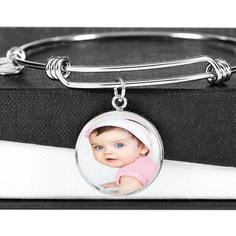 Add Your Own Photo Charm Bracelet Jewelry ShineOn Fulfillment Luxury Bangle (Silver) No