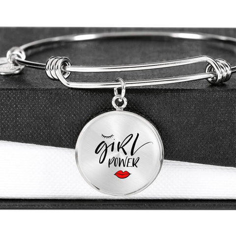 Girl Power Circle Charm Pendant on Adjustable Bangle Jewelry ShineOn Fulfillment Luxury Bangle (Silver) No