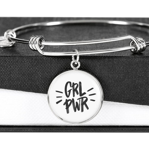 Image of GRL PWR Circle Charm Adjustable Luxury Bangle Jewelry ShineOn Fulfillment Luxury Bangle (Silver) No