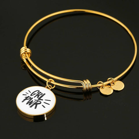GRL PWR Circle Charm Adjustable Luxury Bangle Jewelry ShineOn Fulfillment