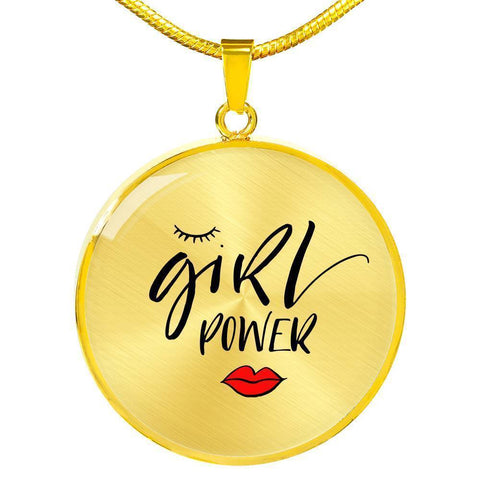 Girl Power Circle Pendant Jewelry ShineOn Fulfillment Luxury Necklace (Gold) No