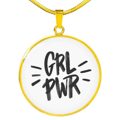 GRL PWR Circle Pendant Necklace Jewelry ShineOn Fulfillment Luxury Necklace (Gold) No