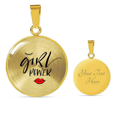 Girl Power Circle Pendant Jewelry ShineOn Fulfillment Luxury Necklace (Gold) Yes