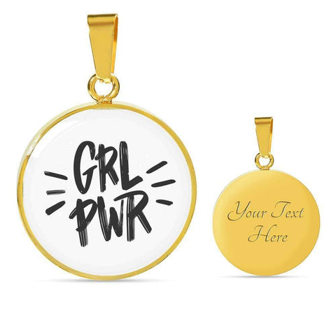 GRL PWR Circle Pendant Necklace Jewelry ShineOn Fulfillment Luxury Necklace (Gold) Yes