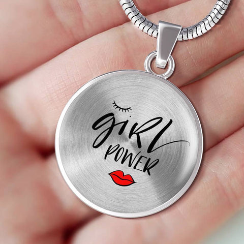 Girl Power Circle Pendant Jewelry ShineOn Fulfillment Luxury Necklace (Silver) No