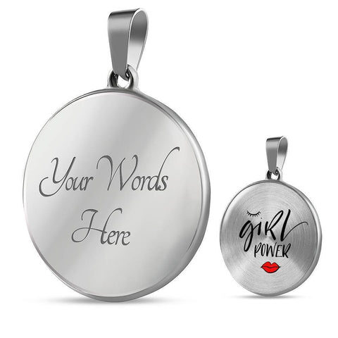 Girl Power Circle Pendant Jewelry ShineOn Fulfillment Luxury Necklace (Silver) Yes