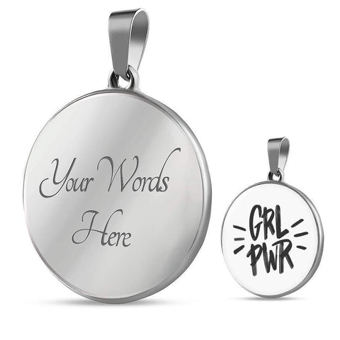 GRL PWR Circle Pendant Necklace Jewelry ShineOn Fulfillment Luxury Necklace (Silver) Yes