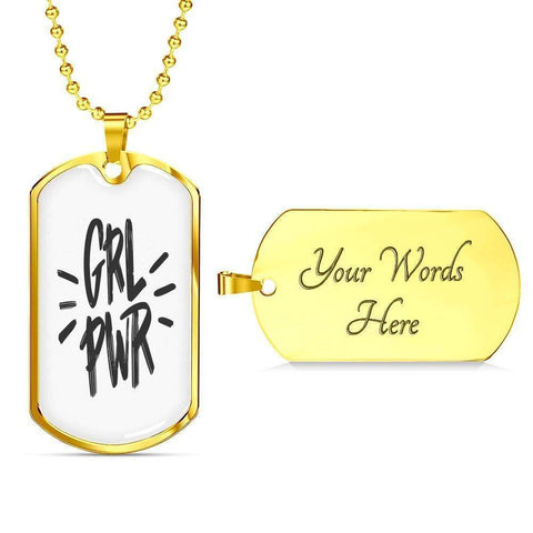 GRL PWR Dog Tags Jewelry ShineOn Fulfillment Military Chain (Gold) Yes