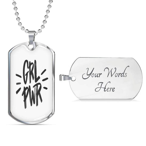GRL PWR Dog Tags Jewelry ShineOn Fulfillment Military Chain (Silver) Yes
