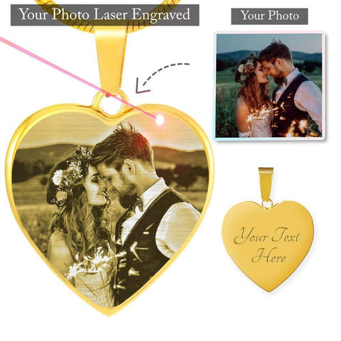 NEW! Laser Engraved Photo Heart Pendant with Necklace Jewelry ShineOn Fulfillment Photo Etched Heart Luxury Necklace (18K Gold-plated) No
