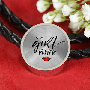 Girl Power Circle Charm - Leather Bracelet Woven Leather Bracelet & Charm ShineOn Fulfillment S/M Woven Leather Charm Bracelet No