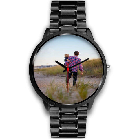 Add your own Photo Custom Watch (Email in your photo after ordering) Black Watch wc-fulfillment Mens 40mm Black Metal Link