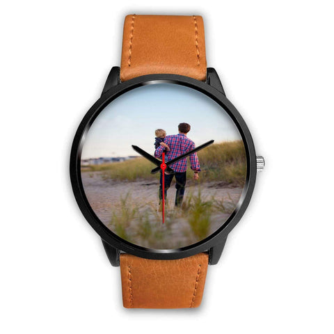 Add your own Photo Custom Watch (Email in your photo after ordering) Black Watch wc-fulfillment Mens 40mm Brown Leather