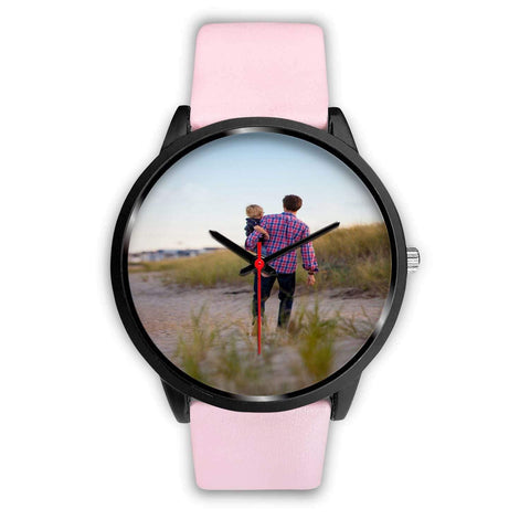 Add your own Photo Custom Watch (Email in your photo after ordering) Black Watch wc-fulfillment Mens 40mm Pink Leather