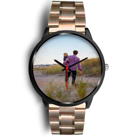 Add your own Photo Custom Watch (Email in your photo after ordering) Black Watch wc-fulfillment Mens 40mm Rose Gold Metal Link