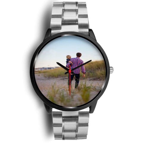 Add your own Photo Custom Watch (Email in your photo after ordering) Black Watch wc-fulfillment Mens 40mm Silver Metal Link