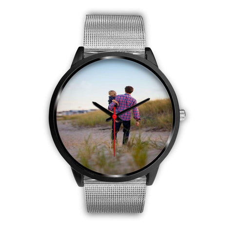 Add your own Photo Custom Watch (Email in your photo after ordering) Black Watch wc-fulfillment Mens 40mm Silver Metal Mesh