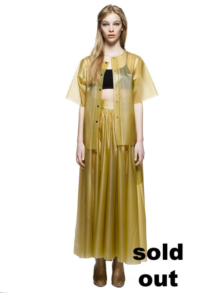 MESI - Ankle long Pleated wrap skirt Solid Gold