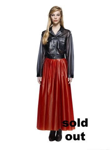 MESI - Ankle long Pleated wrap skirt Rusty Red