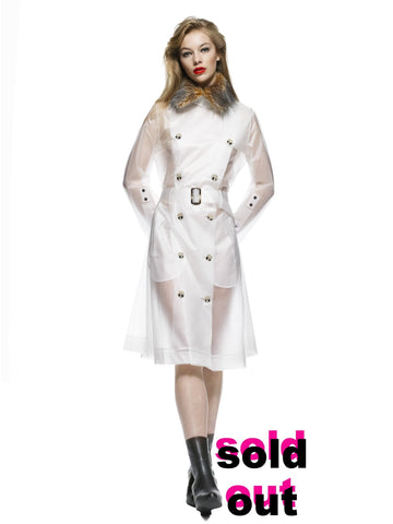 GINZA - Faux fur collar long trench coat Frosty White