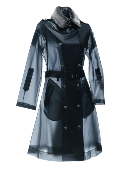GINZA - Faux fur collar long trench coat Ash Black