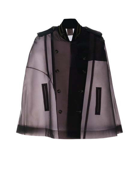 OMOTESANDO - Black and Silver Ribbed collar military cape Midnight Blue