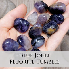 Blue John Fluorite Tumbled Crystals in hand