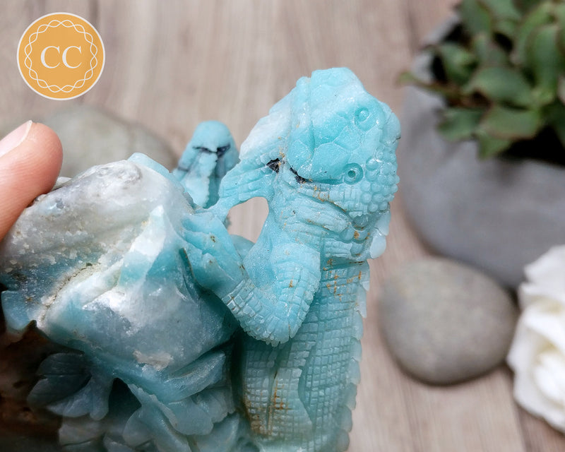 Amazonite Skullis Lizard Carving