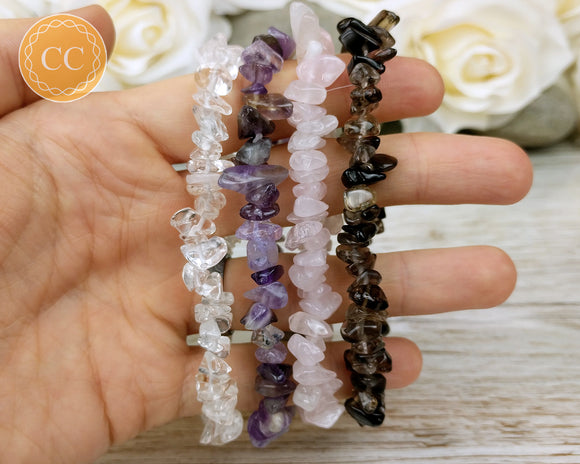 Amethyst, Rose Quartz, Smoky Quartz and Clear Quartz Bracelet Set