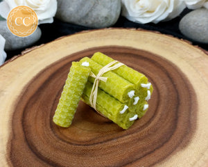 Mini Olive Green Beeswax Spell Candles