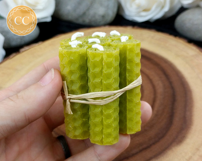 Mini Olive Green Rolled Beeswax Candle