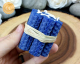 Mini Blue Rolled Beeswax Candle